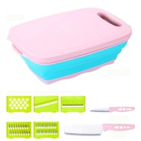9 in 1 Kitchen Folding Chopping Knife Set Block Foldable Silicone Cutting Board Washable Camping Chopping Kitchen Organizer Box Vegetable Grater & Slicer.