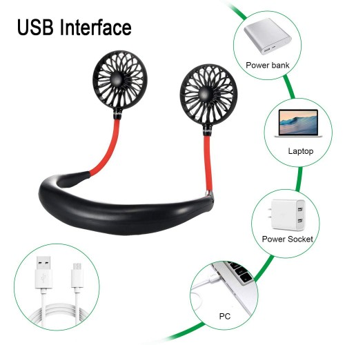 Wearable Rechargeable Usb Mini Hanging Neck Sports Fan Multicolor