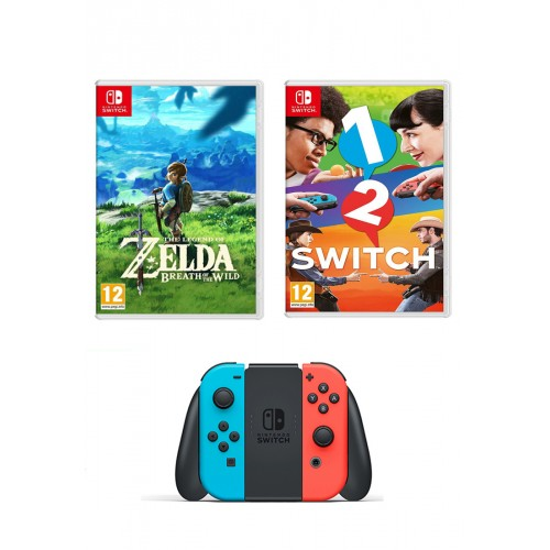 Nintendo Switch 32 GB, Neon Red/Blue, 2-in-1 Joy Con Controllers with 1-2-Switch, The Legend of Zelda: Breath of the Wild
