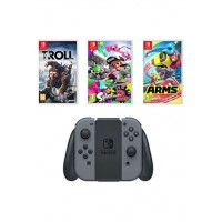 Nintendo Switch 32 GB, Grey, 2-in-1 Joy Con Controllers with Splatoon 2, ARMS and Troll & I