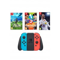 Nintendo Switch 32 GB, Neon Red/Blue, 2-in-1 Joy Con Controllers with 1-2 Switch, The Legend of Zelda, FIFA 18