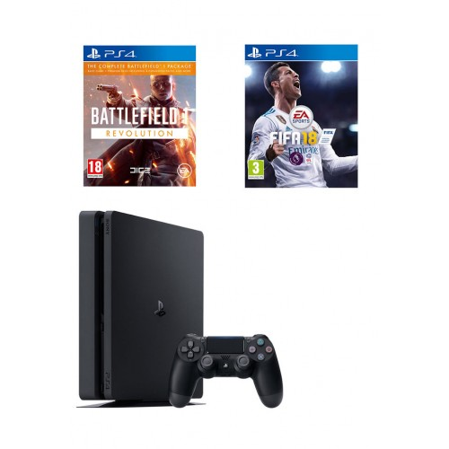 Sony PlayStation 4, Slim 500GB, with FIFA 18, Battlefield 1 Revolution