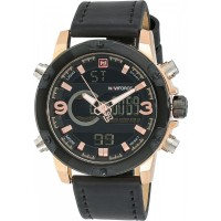 NAVIFORCE Men's Black Dial Leather Band Watch -NF9097M-3