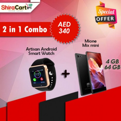 2 IN 1 Combo - Mione Mix Mini, 4 GB Ram, 64 GB Storage, Black + Artison Android Smart watch