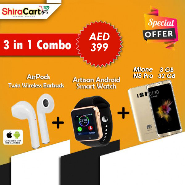 3 IN 1 Combo - Mione N8 Pro 3GB RAM 32GB, 4G [Gold] + Artison Android Smart watch + Twin Wireless Earbuds