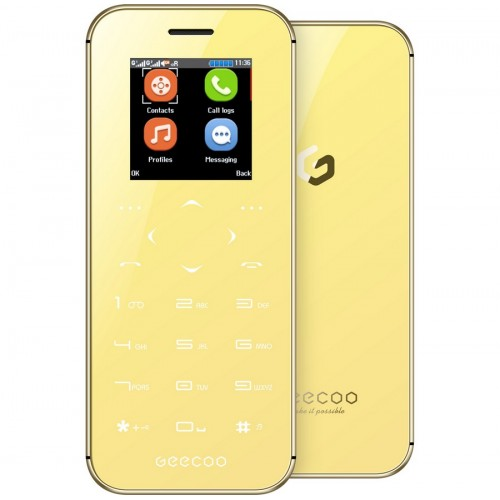 GEECOO MINI 1 Thinnest Touch-Button Double Sided Mirror Phone [Gold]