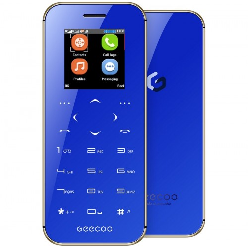 GEECOO MINI 1 Thinnest Touch-Button Double Sided Mirror Phone [Blue]