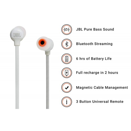 JBL T110BT Pure Bass Wireless in-Ear Headphones with Mic [White]