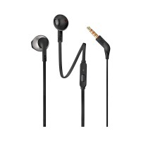 JBL T205 Pure Bass Metal Earbud Headphones with Mic [Black]