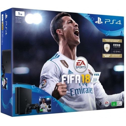 Sony PlayStation 4 Slim 1 TB With FIFA 18- (Black)