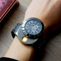 Mens Watch Lighters Flameless Windproof Digital USB Cigarette Lighter Wrist Watches