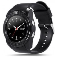 Smart watch with Sim card, Camera, Bluetooth-V8 [Black]