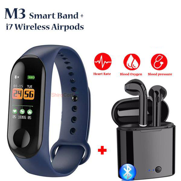 M3 Smartwatch Band Fitness Tracker and i7S Bluetooth Earpods