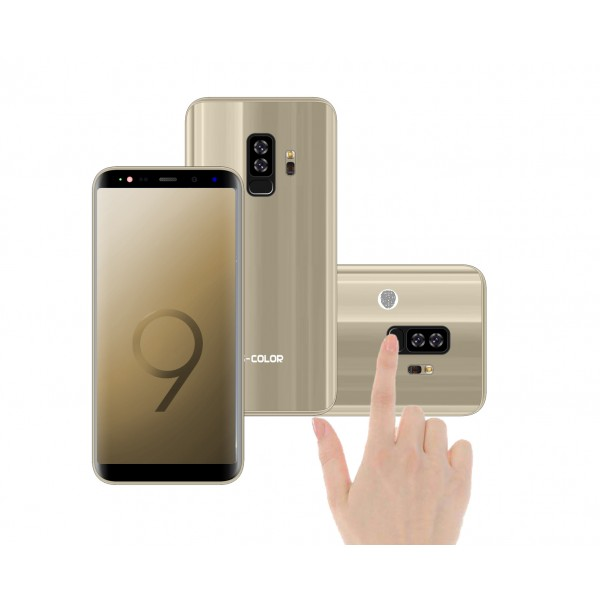 "S-COLOR S9+ 4GB RAM 64 GB Storeage FaceID & FingerPrint Lock 6"" IPS Display , 16MP Camera ,Gold"